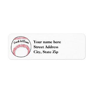 Étiquette L'entraîneur de base-ball ajoutent le nom,