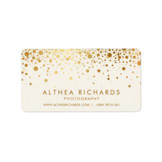Étiquette Les confettis de feuille d'or de Faux pointillent