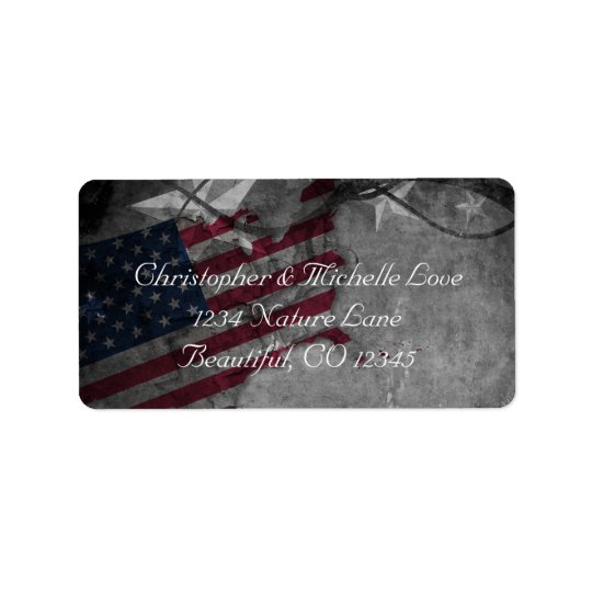 Étiquette Les Etats-Unis patriotiques diminuent et l'adresse