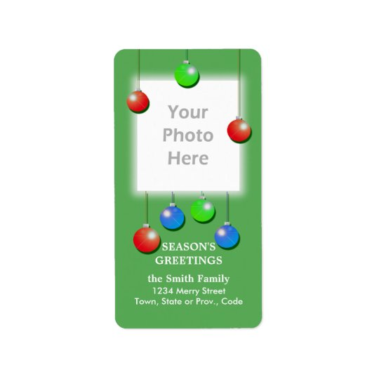 Étiquette Les vacances ornementent le cadre grand de photo