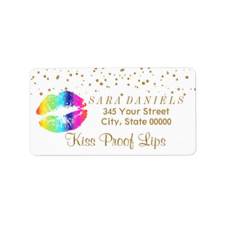 Étiquette Lèvres d'or de confettis et d'arc-en-ciel