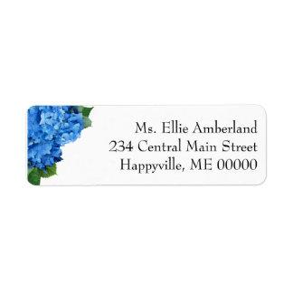 Étiquette L'hortensia bleu fleurit l'adresse de retour