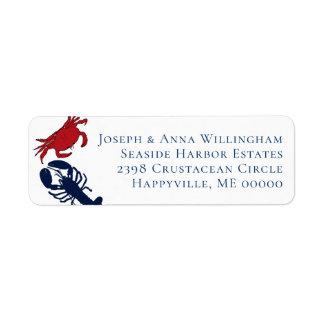 Étiquette Lignes de l'étiquette de adresse quatre de homard