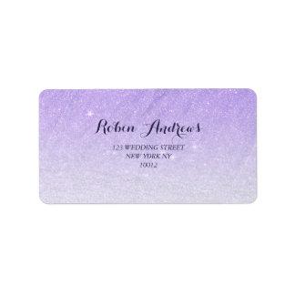 Étiquette lilas d'ombre de parties scintillantes