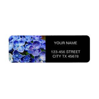 Étiquette lilas pourpre bleu de jardin anglais élégant de