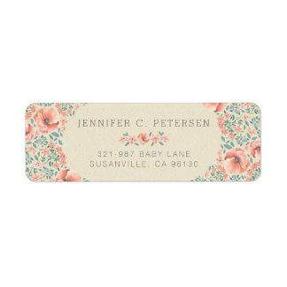 Étiquette Livre de contes floral vintage DE RETOUR de