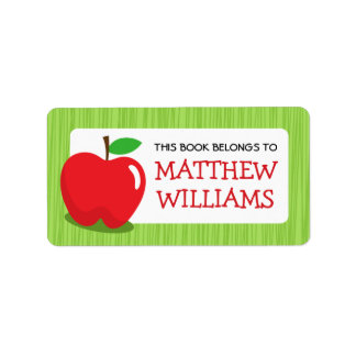 Étiquette Livre texturisé vert pomme rouge d'ex-libris de
