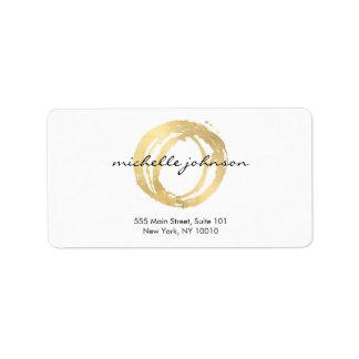 Étiquette Logo de concepteur de cercle peint par or Luxe de