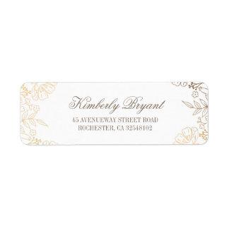 Étiquette L'or fleurit le mariage blanc vintage