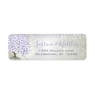 Étiquette L'orchidée rougissent adresse de retour lilas
