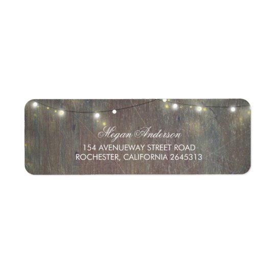 Étiquette Lumières rustiques en bois et de ficelle
