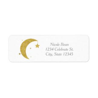 Étiquette Lune d'or et invitation de blanc de baby shower
