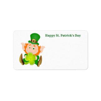 Étiquette Lutin du jour de St Patrick heureux