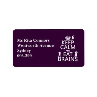 Étiquette Maintenez calme et mangez les cerveaux (zombis)