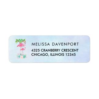 Étiquette Mamans et bébé roses de flamant avec des palmiers