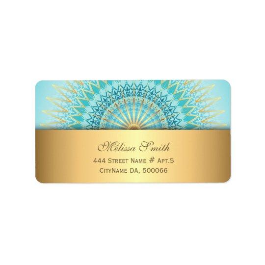 Étiquette Mandala de Boho d'or de turquoise