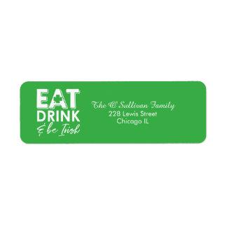 Étiquette Mangez, boisson et soyez le jour de St Patrick