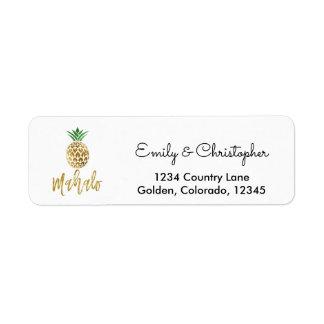 Étiquette Manuscrit de feuille d'or épousant l'ananas de
