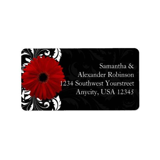Étiquette Marguerite rouge et noire et blanche de Gerbera de