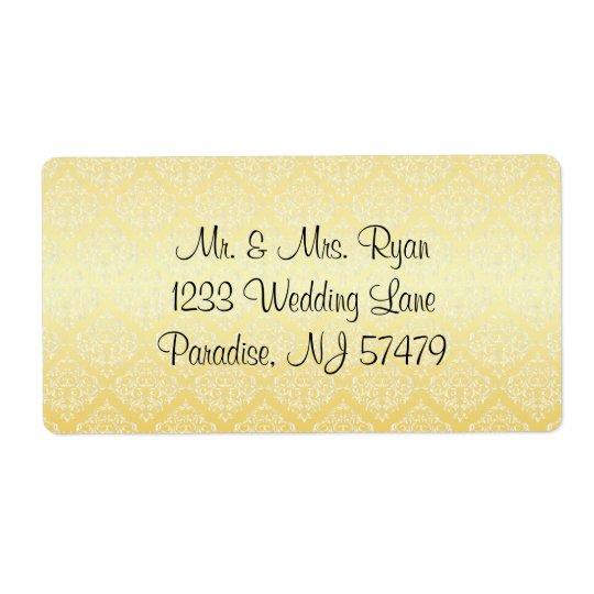 Étiquette Mariage à la mode moderne dans une damassé jaune