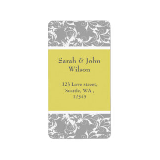 Étiquette mariage baroque gris jaune