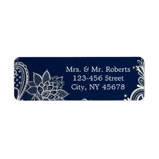 Étiquette mariage blanc vintage de bleu marine de motif de