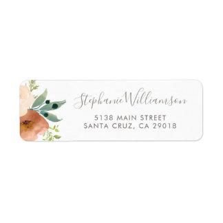Étiquette Mariage botanique de jardin de fleurs d'aquarelle