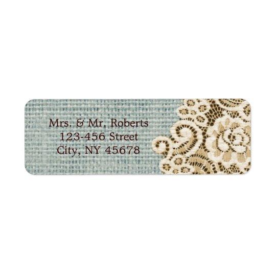 Étiquette mariage campagnard beige de dentelle de toile de