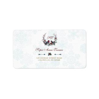 Étiquette Mariage chic de guirlande d'hiver de bouvreuil de