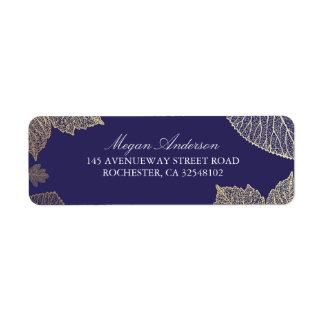 Étiquette Mariage de automne de feuille de marine et d'or