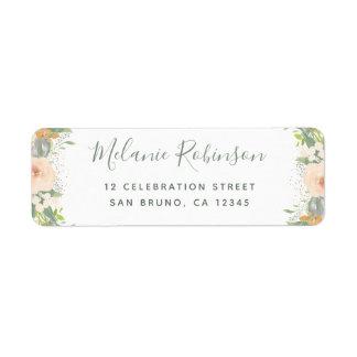 Étiquette Mariage de fleurs et de confettis d'aquarelle