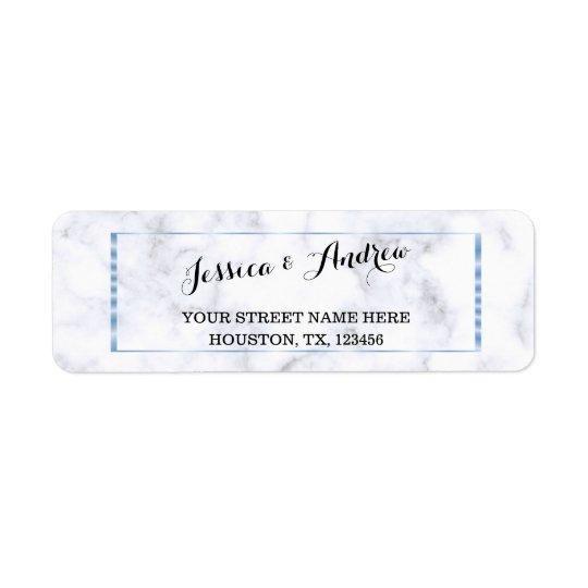 Étiquette Mariage de marbre bleu romantique