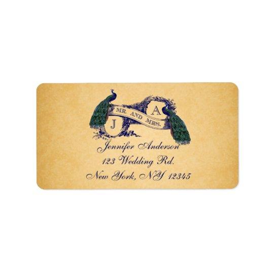 Étiquette Mariage de papier vintage RSVP de paon bleu