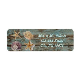 Étiquette mariage de plage romantique élégant de coquillages