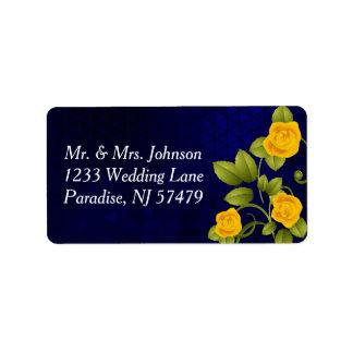 Étiquette Mariage de rose bleu-foncé et jaune
