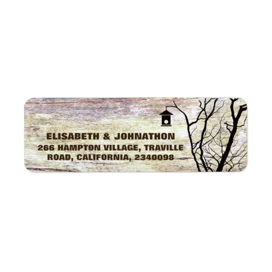 Étiquette Mariage de silhouette de volière de région boisée
