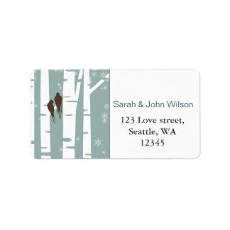 Étiquette Mariage d'hiver d'arbre de bouleau d'inséparables