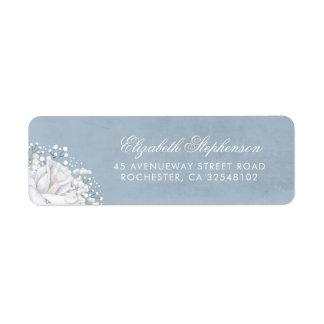 Étiquette Mariage élégant bleu poussiéreux du souffle du