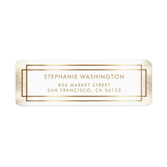 Étiquette Mariage élégant de frontière de blanc et d'or