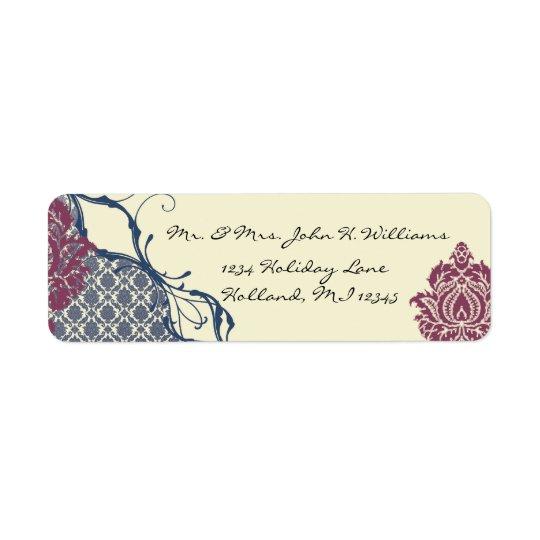Étiquette Mariage élégant de paon de damassé de baie de