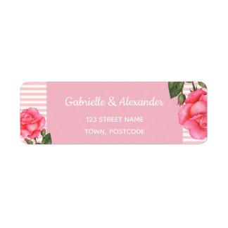 Étiquette Mariage floral botanique d'art de rose de rose