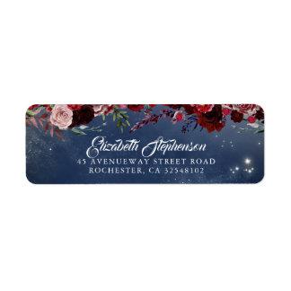 Étiquette Mariage floral de bleu marine de Bourgogne et