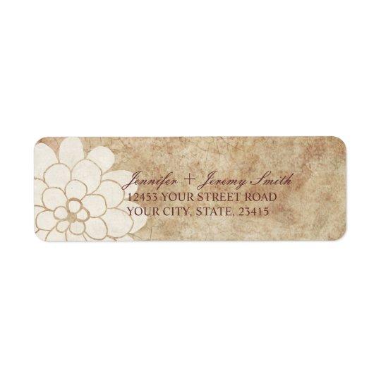 Étiquette Mariage floral de dahlia blanc vintage
