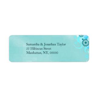 Étiquette Mariage floral de turquoise bleue turquoise foncée