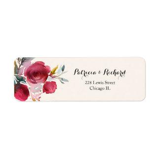 Étiquette Mariage floral élégant de Bourgogne Marsala