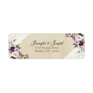 Étiquette Mariage floral pourpre chic minable de dentelle