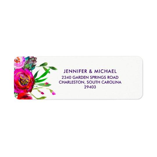 Étiquette Mariage floral vibrant d'aquarelle de  