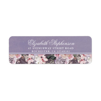 Étiquette Mariage floral vintage mauve de prune et de lilas