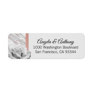 Étiquette Mariage gris de rose de feuille d'or élégante