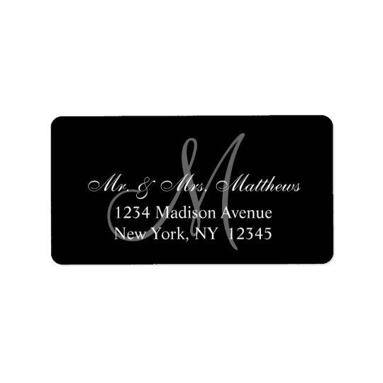 Étiquette Mariage gris noir élégant de monogramme